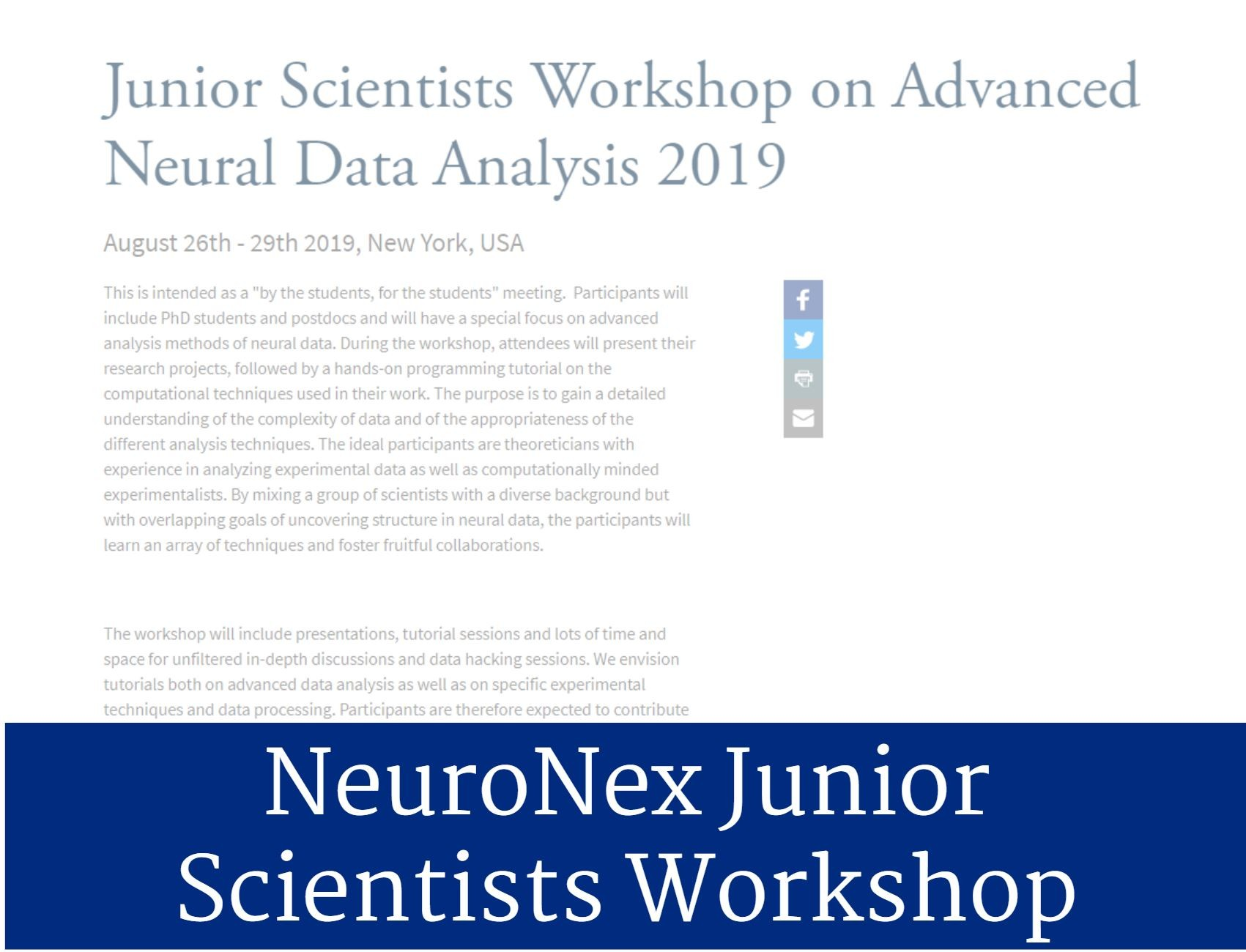 NeuroNex Junior Scientists Workshop